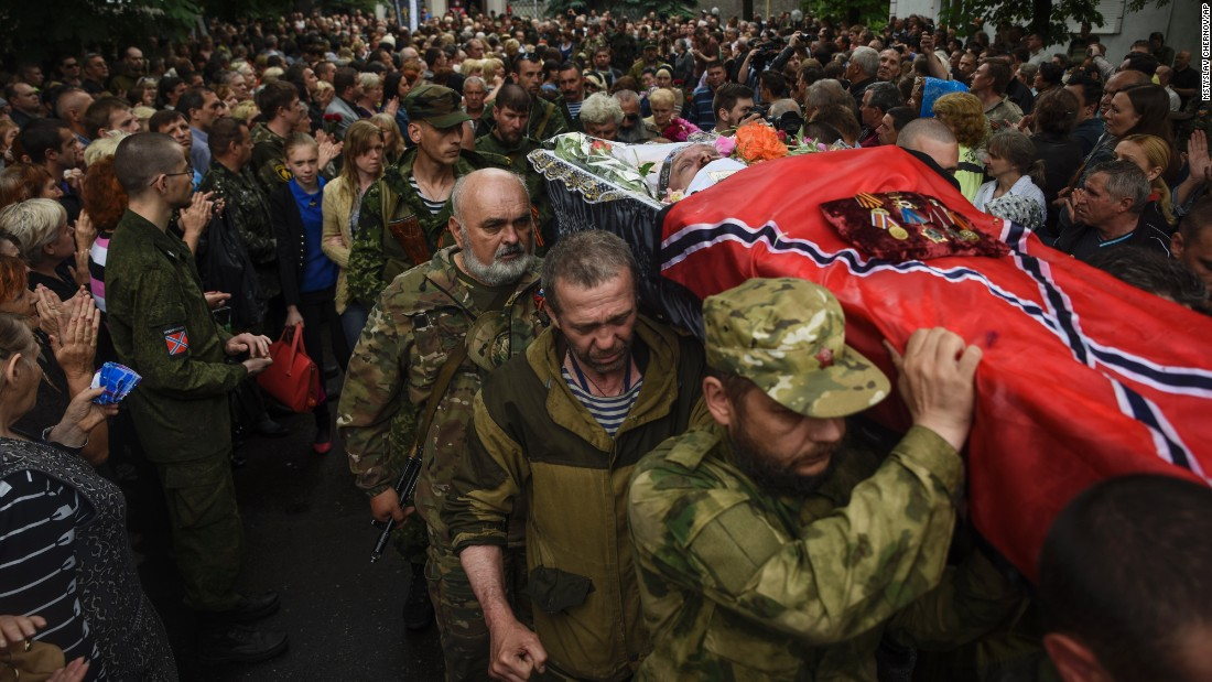 "Pro-Russian rebels carry the coffin of <a href=""http://www.cnn.com/2015/05/24/europe/ukraine-separatist-commander-killed/index.html"">prominent separatist commander Alexei Mozgovoi</a> during his funeral in Alchevsk, Ukraine, on Wednesday, May 27."