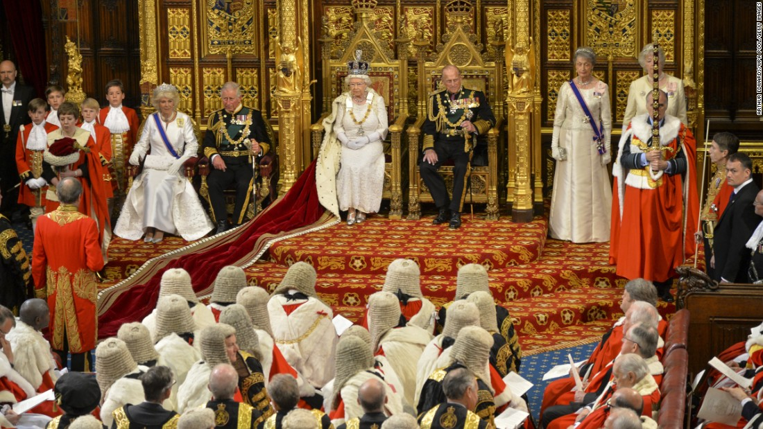 The Queen waits to give her speech during the State Opening of Parliament on May 27.