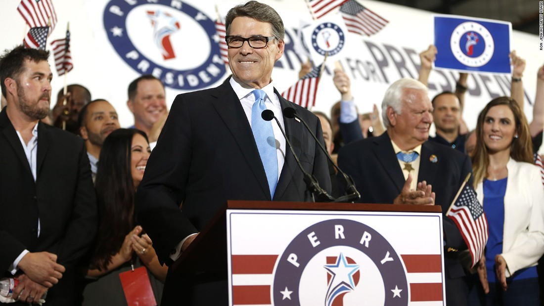 "Former Texas Gov. Rick Perry threw his name into the ring for the Republican nomination on June 4 in Addison, Texas. Perry ran in 2012 but his campaign ended after a debate gaffe and several stump speech missteps. <br /><br />During<a href=""http://www.cnn.com/2015/06/04/politics/rick-perry-2016-presidential-announcement/index.html""> his announcement</a>, Perry said: ""We don't have to settle for a world in chaos or an America that shrinks from its responsibilities."""