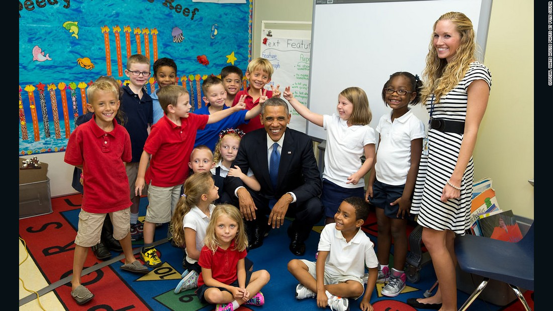 """ 'Don't make rabbit ears,' Obama told this group of students at an elementary school at MacDill Air Force Base in Tampa, Florida,"" Souza recalled. So, of course, some couldn't resist."