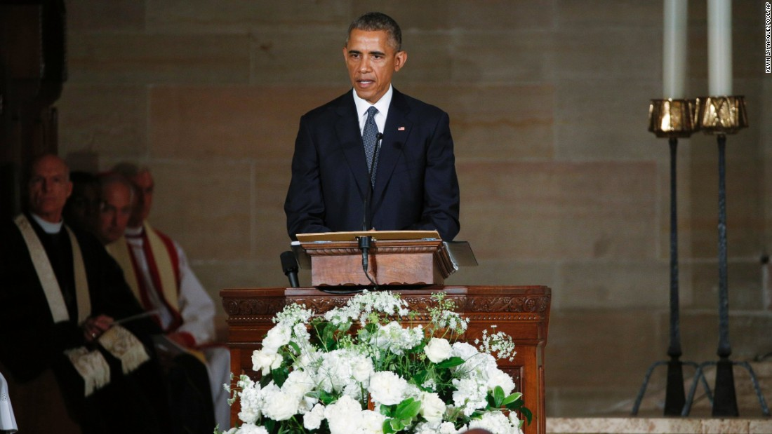 President Barack Obama delivers the eulogy in honor of former Delaware Attorney General Beau Biden, Saturday, June 6, at St. Anthony of Padua Church in Wilmington, Del. Biden, Vice President Joe Biden's eldest son died at the age of 46 after a battle with brain cancer.