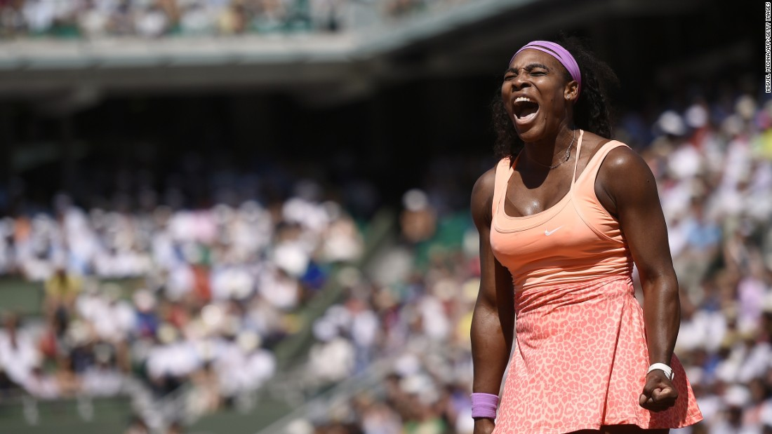 Serena Williams screams after winning a point in the first set of the 2015 French Open final.
