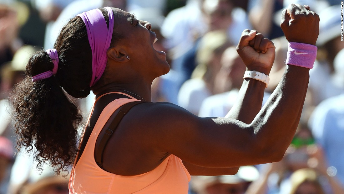 Serena Williams celebrates winning the 2015 French Open final.