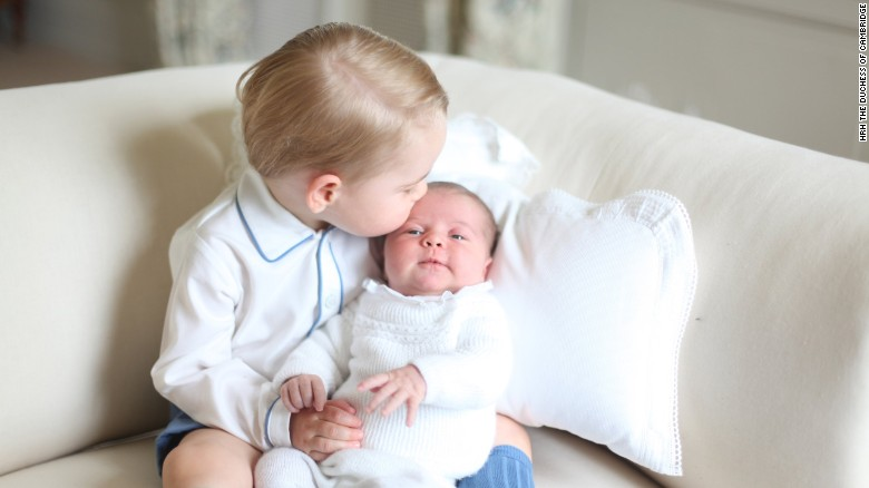 Princess Charlotte is publicly seen with her big brother, Prince George, for the first time in a photo released by Kensington Palace on Saturday, June 6.
