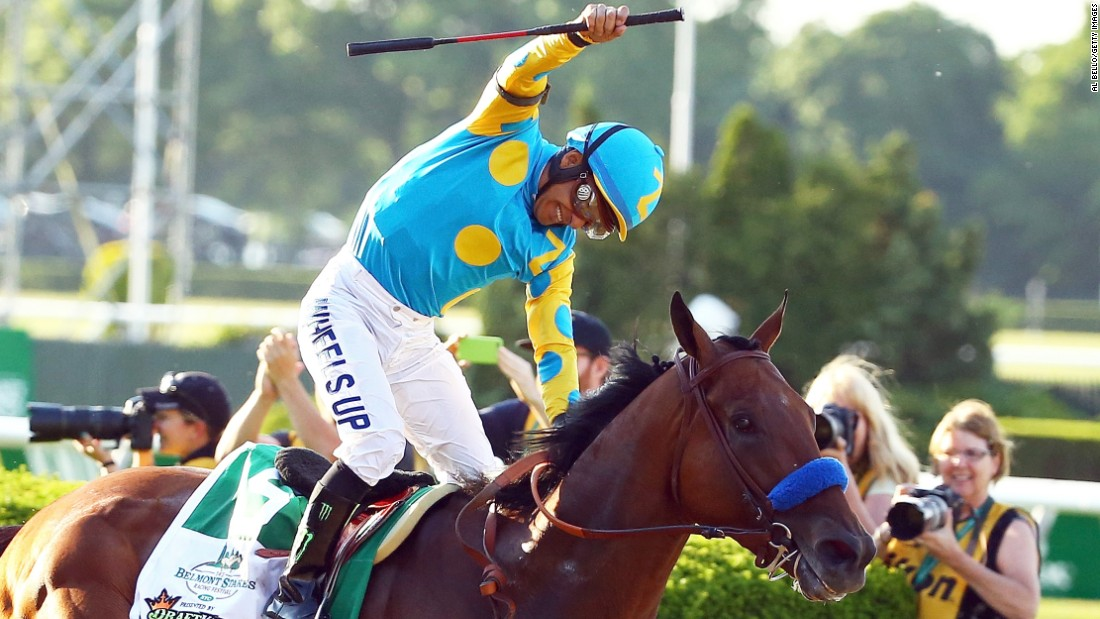 "Kentucky Derby and Preakness Stakes winner American Pharoah wins the 147th running of the Belmont Stakes on Saturday, June 6, in New York to become the first horse to win <a href=""http://www.cnn.com/2012/06/07/worldsport/gallery/triple-crown-winners/index.html"" target=""_blank"">the Triple Crown since Affirmed did so in 1978</a>."