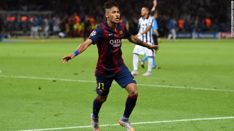 Neymar celebrates scoring the third goal in the 2015 Champions League final.