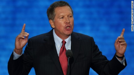Ohio Gov. John Kasich speaks during the Republican National Convention at the Tampa Bay Times Forum on August 28, 2012 in Tampa, Florida. Today is the first full session of the RNC after the start was delayed due to Tropical Storm Isaac.