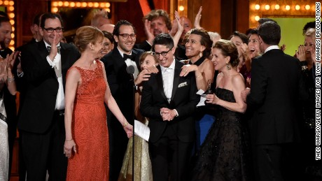 "American cartoonist Alison Bechdel, center, and the cast and crew of ""Fun Home"" accept the award for Best Musical onstage at the 2015 Tony Awards at Radio City Music Hall in New York on June 7, 2015."