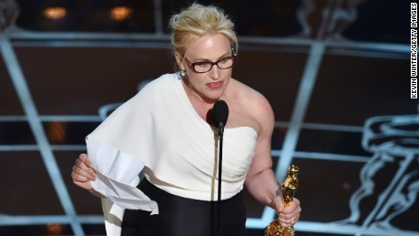 """Patricia Arquette accepts the best supporting actress Oscar for her role in """"Boyhood"""" at the 2015 Academy Awards."""