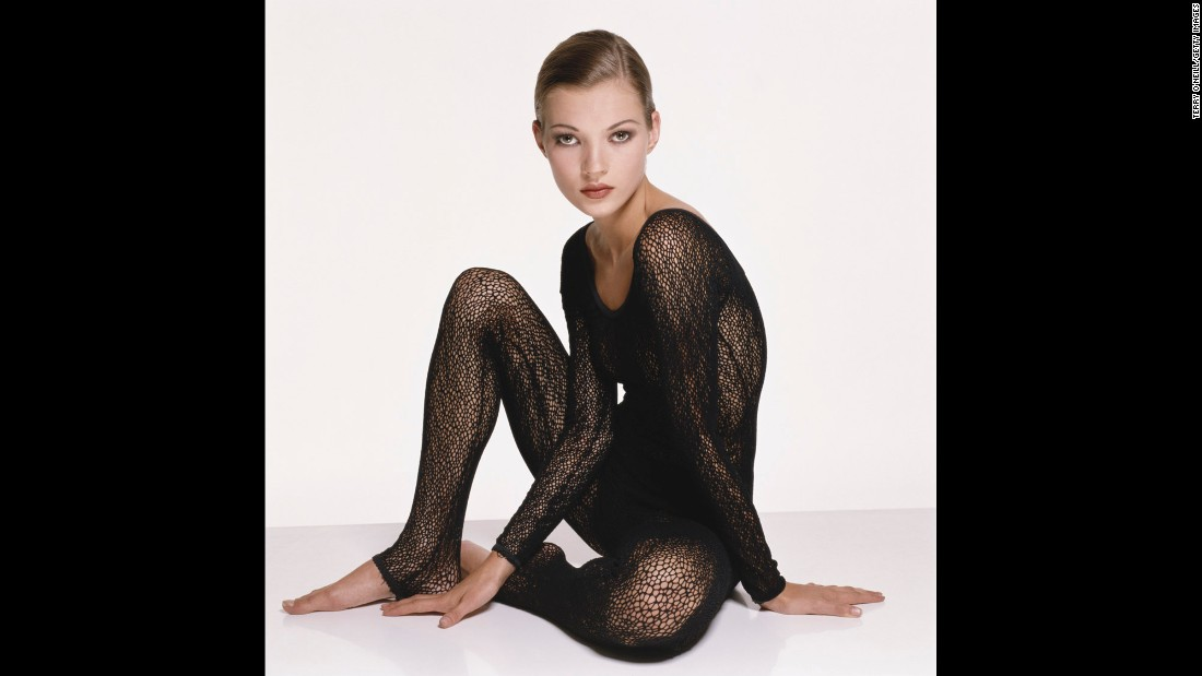 Moss, wearing a knitted black body stocking, poses for a photo circa 1993.