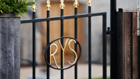 The monogrammed gateway to the Royal Yacht Squadron in Cowes, Isle of Wight