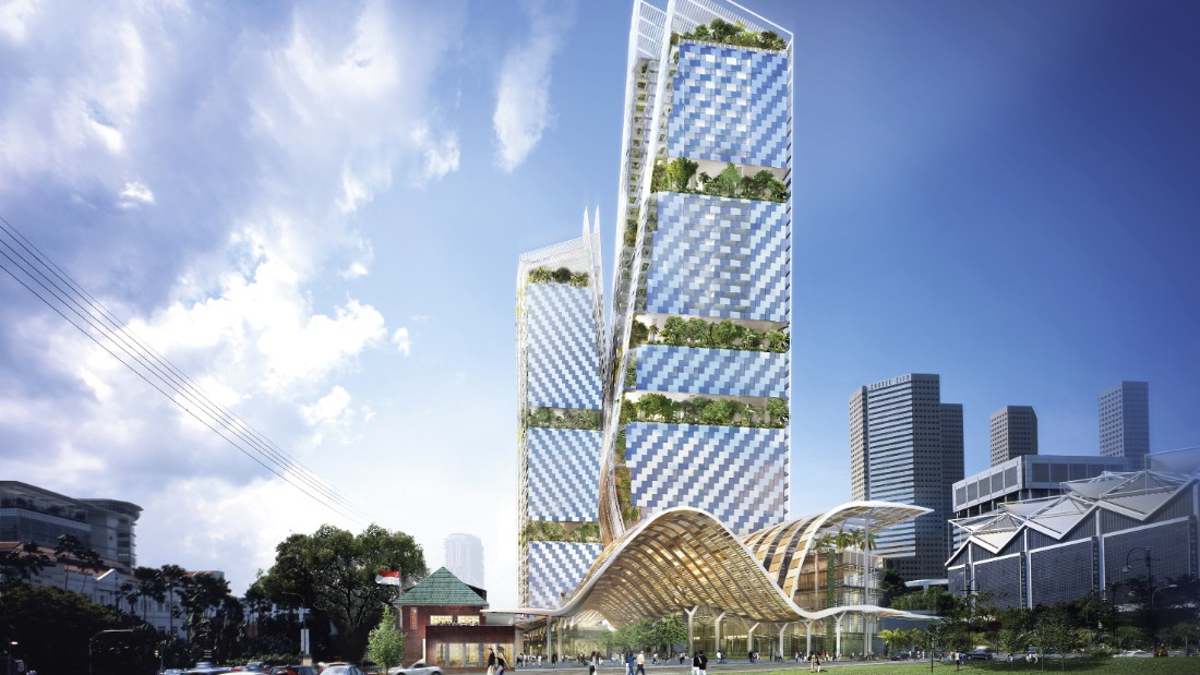 The Beach Road development by Foster and Partners meets the green demands of Singapore's building regulations -- the green mark scheme. The complex occupies an entire city block in downtown Singapore and includes a large garden  weaving through the site protected by a large undulating canopy.