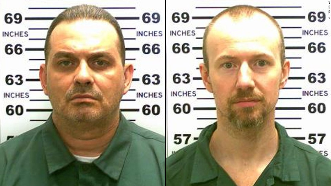 Guards in an upstate New York prison found the cells of convicted murderers Richard Matt, left, and David Sweat empty during an early morning bed check on June 6, 2015. Three weeks later, Matt was shot and killed by police officers near the Canadian border.  Sweat was captured in the same area two days later, ending a massive and costly manhunt.
