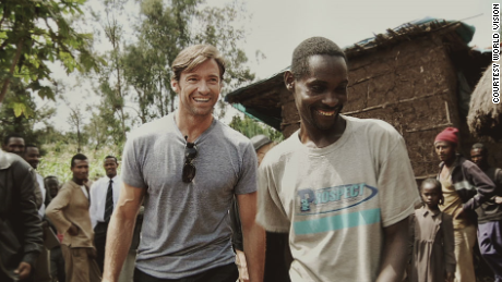Hugh Jackman and his new found friend, Ethiopian coffee farmer Dukale, outside of  Dukale#39;s Yirgacheffe home.