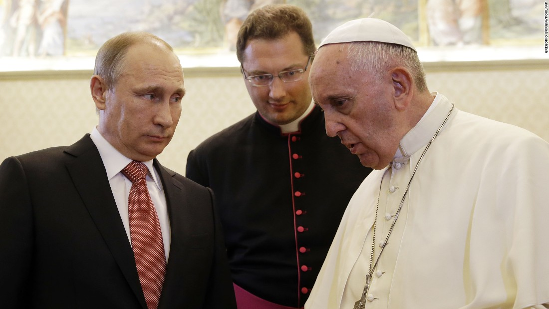 "Russian President Vladimir Putin, left, <a href=""http://www.cnn.com/2015/06/10/world/putin-italy-visit/index.html"" target=""_blank"">meets Pope Francis</a> at the Vatican on Wednesday, June 10. The Pope gave Putin a medallion depicting the angel of peace, Vatican spokesman Federico Lombardi said. The Vatican called it ""an invitation to build a world of solidarity and peace founded on justice."" Lombardi said the pontiff and President talked for 50 minutes about the crisis in Ukraine and violence in Iraq and Syria."