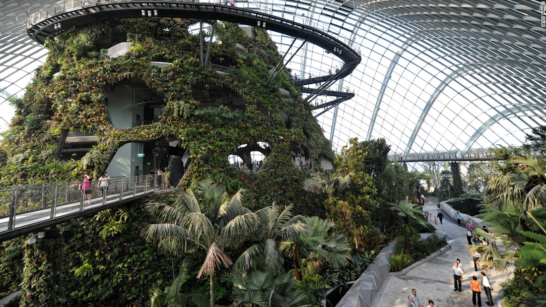 The gardens by the bay in Singapore's Marina Bay district span 101 hectares of reclaimed land providing a green space for public use. Singapore is ranked first in the Green Cities Index for Asia.