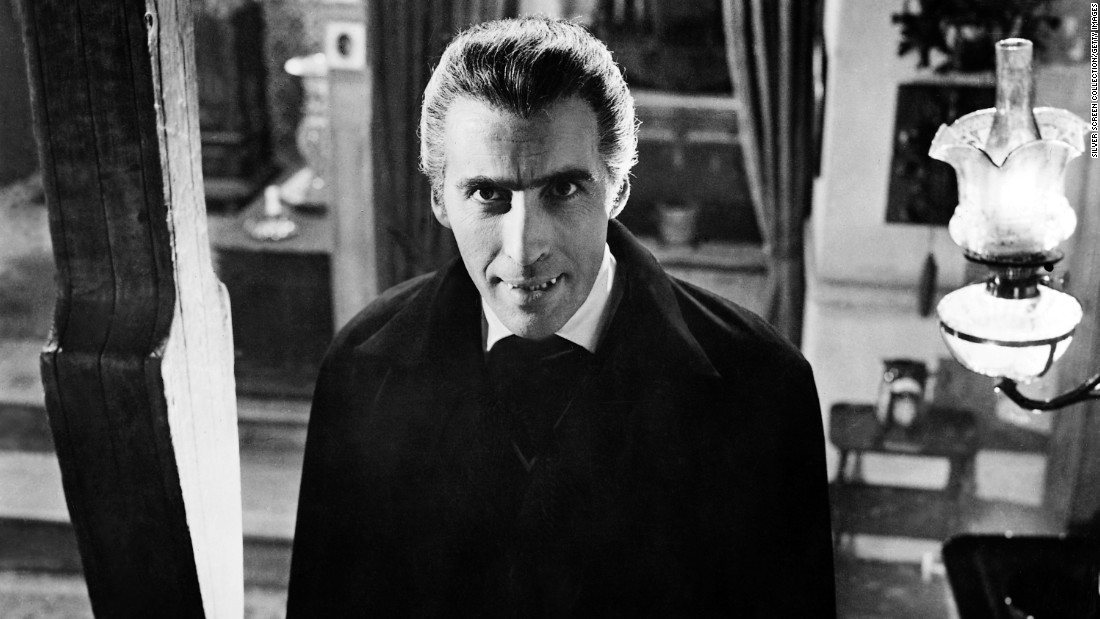 "In 1958, Lee first plays the vampire Count Dracula in ""Horror of Dracula."""