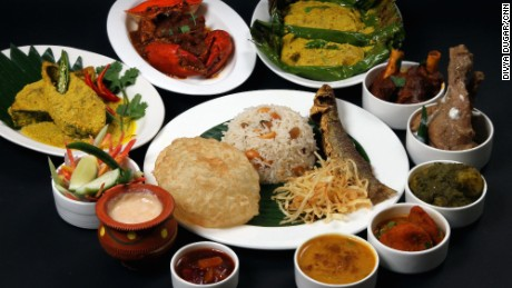 A traditional Bengali food thala (platter) at 6 Ballygunge Place.