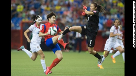 Costa Rica goalkeeper Dinnia Diaz comes out to knock the ball away from South Korea's Lee Geummin.