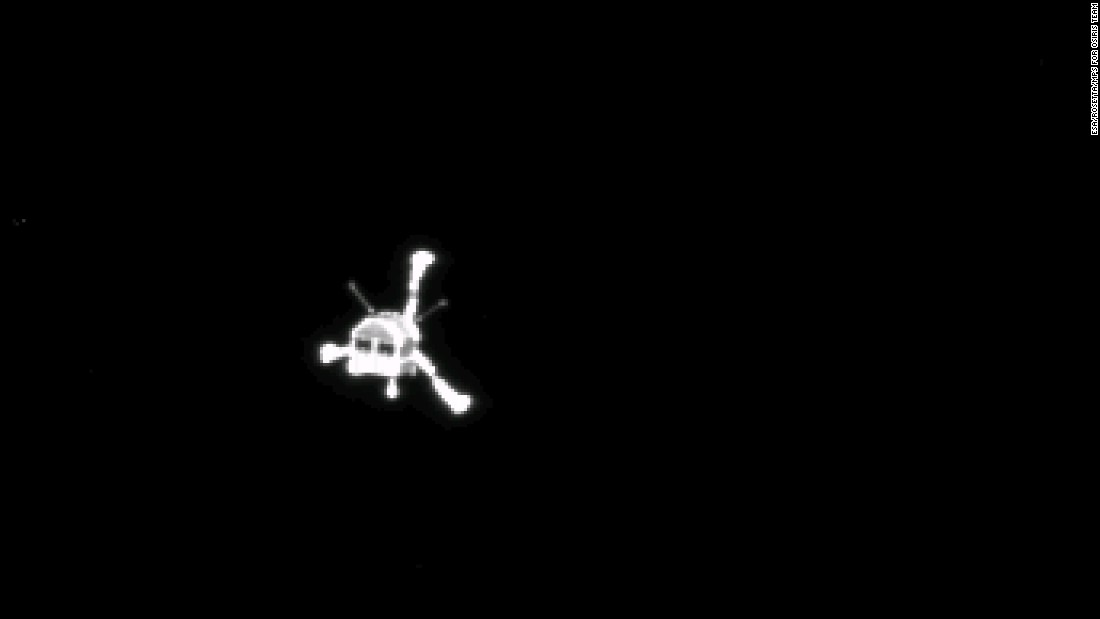 "The Philae comet lander came out of hibernation on June 13 and ""spoke"" to mission managers at the European Space Agency for 85 seconds. The probe fell silent a few days after it failed to stick its landing on  Comet 67P/Churyumov-Gerasimenko in November, 2014. The photo above was taken by the lander's mothership, the Rosetta orbiter after the lander started its descent to the comet."