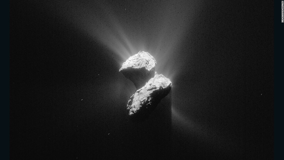 This image of Comet 67P/Churyumov-Gerasimenko was taken by Rosetta on June 5, 2015 while the spacecraft was about 129 miles (208 kilometers) from the comet's center.