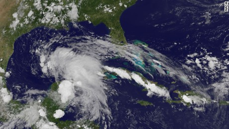 This satellite image shows the storm system that has the potential to become a tropical storm.