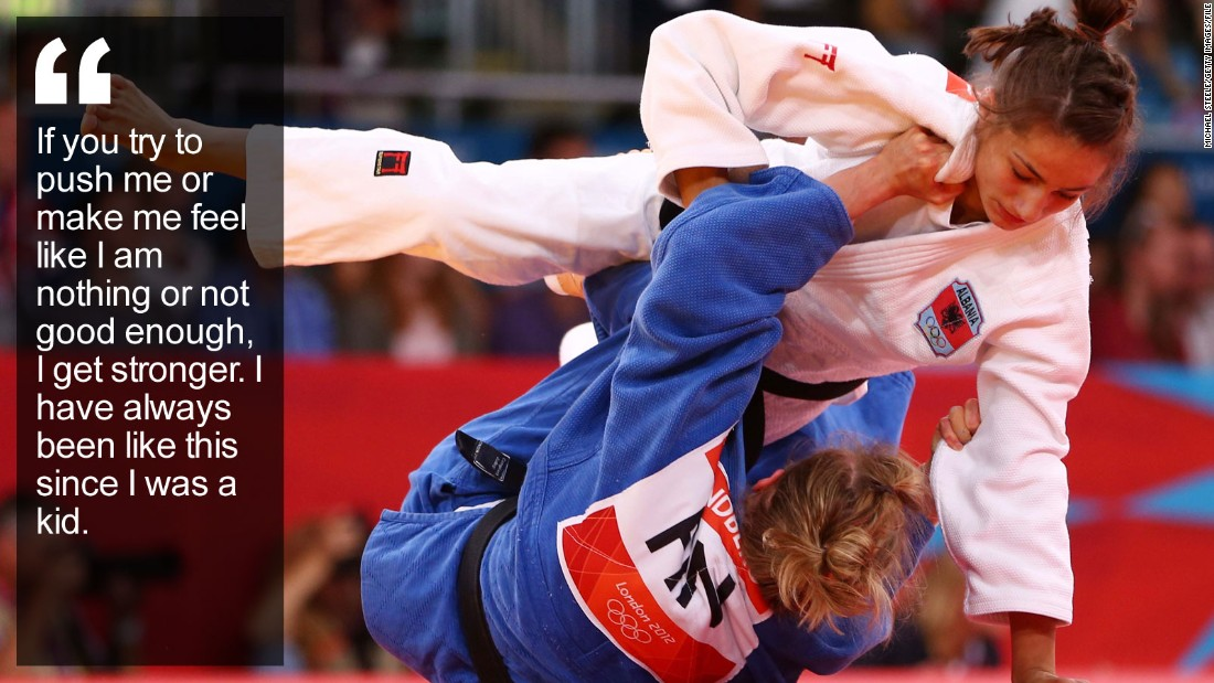 """When the judo champion carries her country's flag at the 2016 Olympics, her powerful fighter's shoulders will also bear the weight of expectation of a nation finally gaining recognition after being ripped apart by war. <a href=""""/2015/06/17/sport/majlinda-kelmendi-kosovo-judo-olympics/index.html"""" target=""""_blank"""">Read more</a>"""