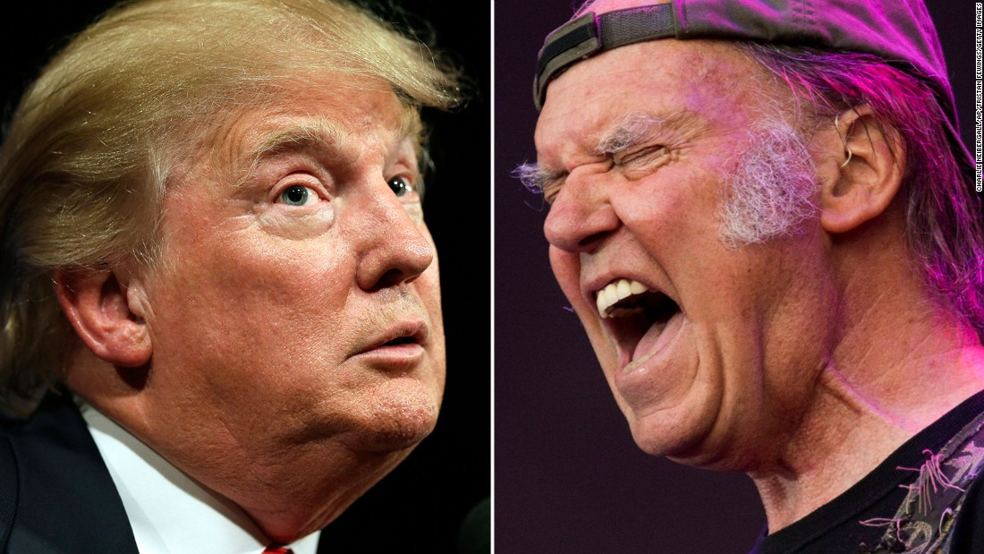 "<a href=""http://www.cnn.com/2015/06/16/politics/donald-trump-2016-neil-young-song/index.html"">Neil Young was not happy</a> that Republican presidential candidate Donald Trump chose to use his song ""Rockin' In The Free World"" when he announced his candidacy."