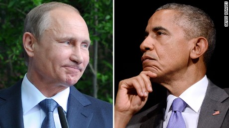 Russian President Vladimir Putin and U.S. President Barack Obama are shown in this composite image.