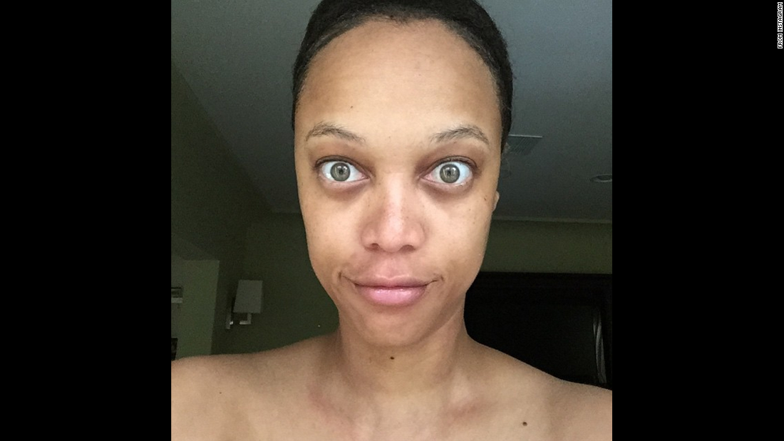"Tyra Banks is a former supermodel who knows a thing or two about makeup and Photoshop. But on Wednesday, June 17, <a href=""https://instagram.com/p/4CJxW3KQJc/"" target=""_blank"">she posted an unretouched, makeup-less photo of herself on Instagram</a> with the caption, ""You deserve to see the REAL me."" Click through the gallery to see other stars who've gone makeup-free."