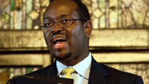 The Rev. Clementa Pinckney speaks at the church in Charleston in December 2012.