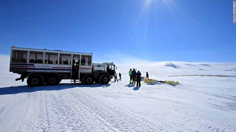 Ice road trucking: A former cruise missile launcher is used to reach the cave.