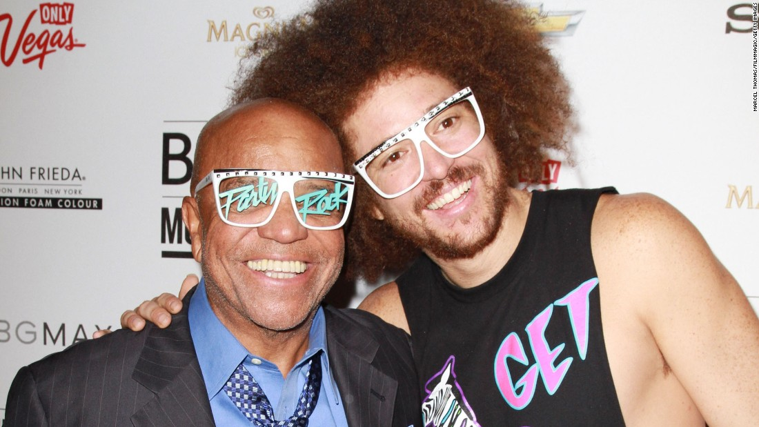 """After founding Motown Records and making it one of the biggest record labels in the world, Berry Gordy settled down from the music business and enjoyed the fruits of his labor.  His son, Stefan Kendal (Redfoo), teamed up with grandson Skyler Austen (SkyBlu, not pictured here) to form the electro-pop duo LMFAO, who've become international sensations with their """"party rock"""" dance club anthems."""