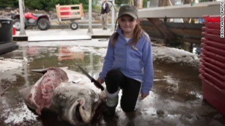 10-year-old girl catches 333-pound fish.