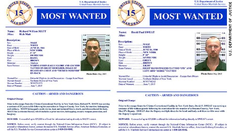The U.S. Marshals Service has added Richard Matt, left, and David Sweat to its list of the 15 most wanted criminals.