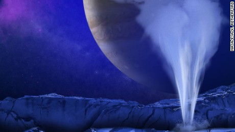 An artist's concept of a plume of water vapor jetting above the icy surface of Europa.
