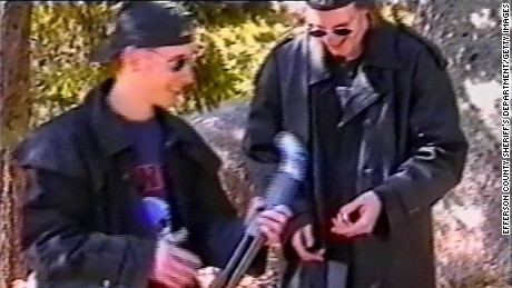 COLORADO - MARCH 6: (VIDEO CAPTURE)  Eric Harris (L) and Dylan Klebold examine a sawed-off shotgun at a makeshift shooting range March 6, 1999 in Douglas County, CO in this image from video released by the Jefferson County Sheriff's Department. Approximately six weeks after this video was made, Klebold and Harris killed 13 people at Columbine High School in Littleton, CO in the worst school shooting in U.S. history. Some of the weapons seen in the video were used in the shooting. (Photo by Jefferson County Sheriff's Department via Getty Images)