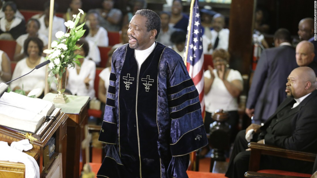 The Rev. Norvel Goff delivers a sermon during the service.