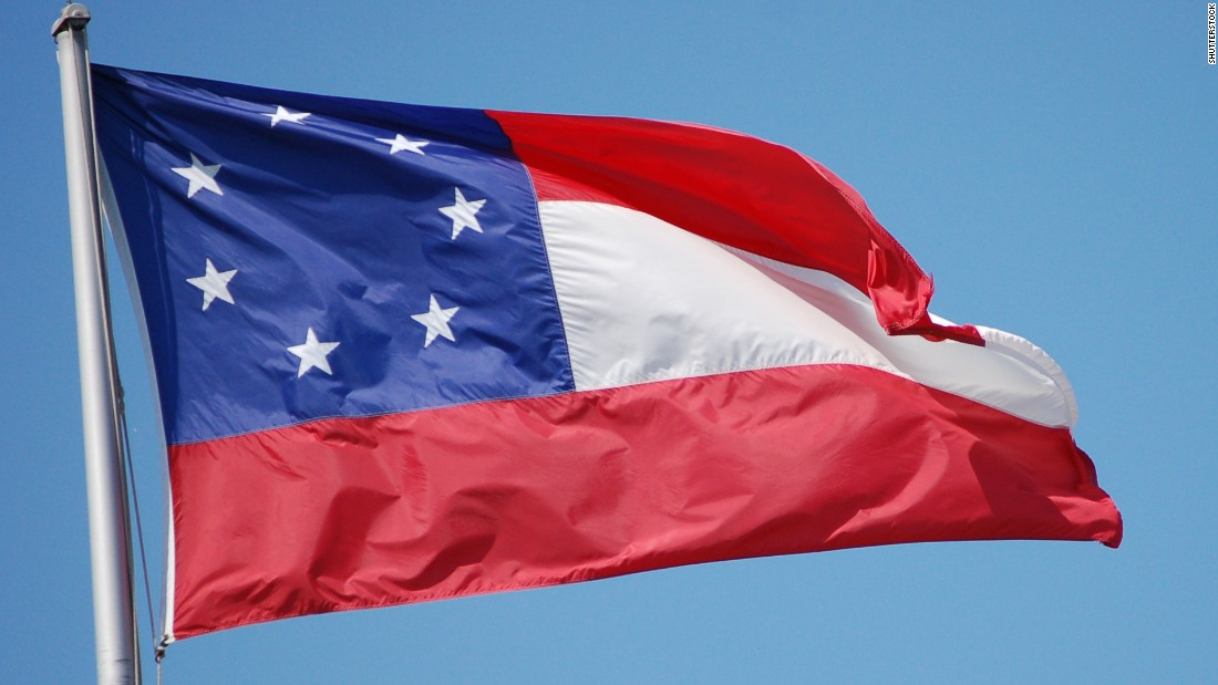 The first national flag of the Confederate States of America was created in 1861 and had seven stars to represent the breakaway states of South Carolina, Mississippi, Florida, Alabama, Georgia, Louisiana and Texas.