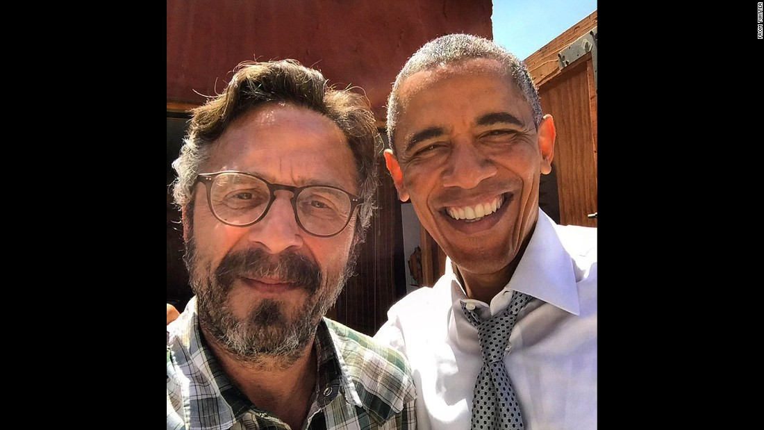 "President Barack Obama takes a selfie with podcast host Mark Maron after being a guest on his show ""WTF with Marc Maron"" in Los Angeles on June 22, 2015."