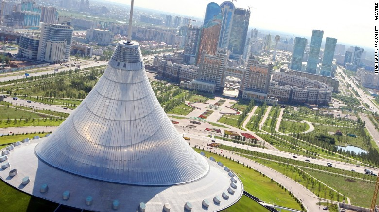 An aerial view of Astana and some of it's ambitious architectural structures.