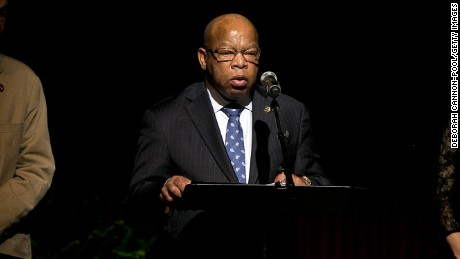 U.S. Rep. John Lewis gives a reading prior to a speech by former President Bill Clinton on the second day of the Civil Rights Summit at the LBJ Presidential Library April 9, 2014 in Austin, Texas.