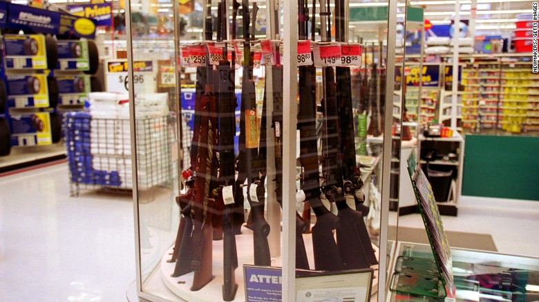 Guns for sale at a Wal-Mart, July 19, 2000.
