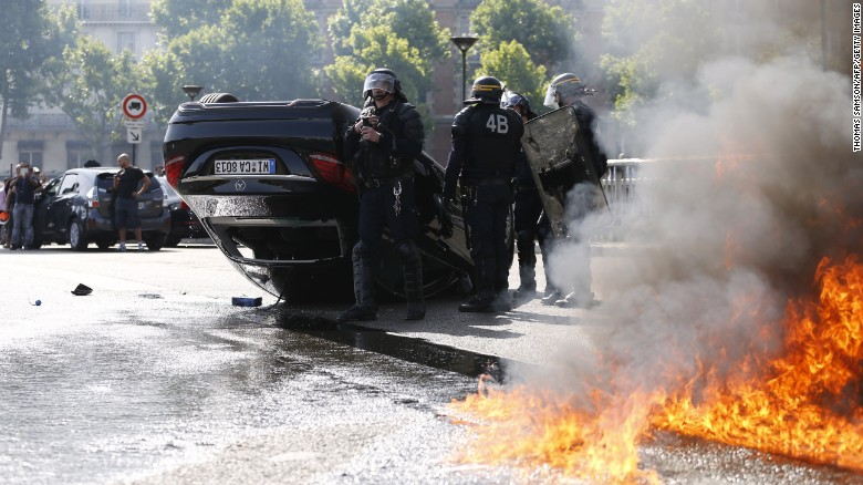 Celebrity Caught in Parisian Cabbies' Violent Anti-Uber Protest
