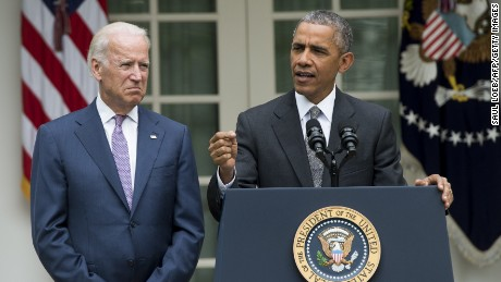 U.S. President Barack Obama speaks alongside US Vice President Joe Biden about the Supreme Court's ruling to uphold the subsidies that comprise the Affordable Care Act, known as Obamacare, in the Rose Garden of the White House in Washington, D.C., June 25, 2015.