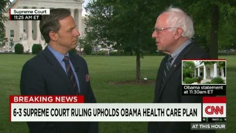 """Sen. Sanders:""""very positive reaction"""" to SCOTUS ruling"""