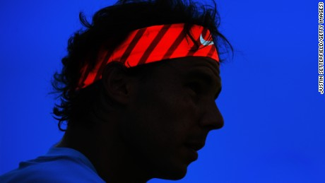 Rafael Nadal of Spain looks on during his men's singles first round match against Alexandr Dolgopolov of Ukraine during day two of the Aegon Championships at Queen's Club on June 16, 2015 in London, England.