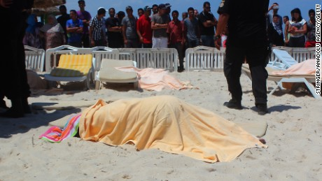Caption:SOUSSE, TUNISIA - JUNE 26: The bodies of people are seen after an armed attack on a tourist hotel in Sousse, east Tunisia, left at least 27 people dead, including foreigners, and injured six others , on June 26, 2015. (Photo by Stringer/Anadolu Agency/Getty Images)