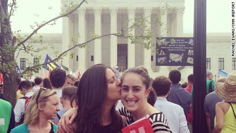 """A pic for the future kids. So they can see that their moms were at the Supreme Court the day love became law,"" said Rachel Evans via Instagram."