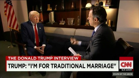 "Trump is ""for traditional marriage"""